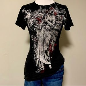 Sinful Angel Tattoo Style Rhinestone T-shirt